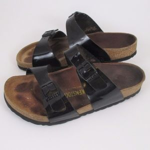 Birkenstock 37 Arizona Black Patent Leather Sandal
